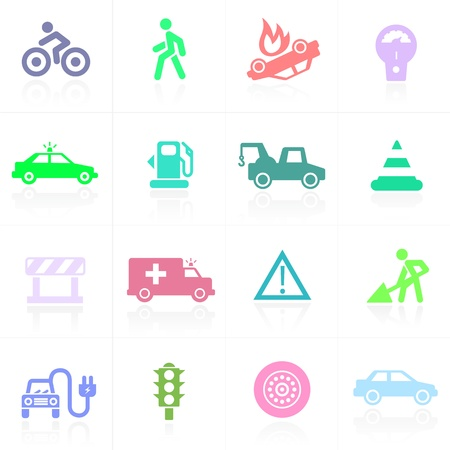 Traffic icons colored on white background. All graphic elements grouped for convenience on separate layers. Vector
