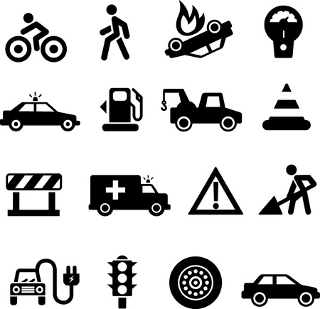 tow truck: Traffic icons black on white background Stock Photo