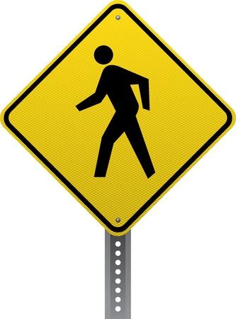 chauffeurs: Passage pour pi�tons signe d'avertissement de trafic. Panneaux de signalisation en forme de losange avertissent les conducteurs des conditions et des dangers de la route � venir. Illustration
