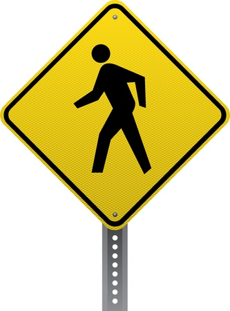 road conditions: Pedestrian crossing traffic warning sign. Diamond-shaped traffic signs warn drivers of upcoming road conditions and hazards. Illustration