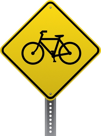 road conditions: Bicycle crossing traffic warning sign. Diamond-shaped traffic signs warn drivers of upcoming road conditions and hazards. Illustration