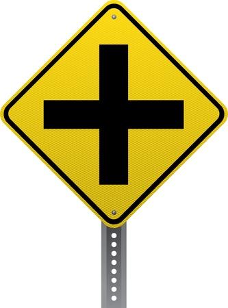 chauffeurs: Carrefour avance de signe d'avertissement de trafic. Panneaux de signalisation en forme de losange avertissent les conducteurs des conditions et des dangers de la route � venir. Illustration