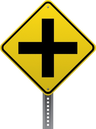 road conditions: Crossroads ahead traffic warning sign. Diamond-shaped traffic signs warn drivers of upcoming road conditions and hazards. Illustration