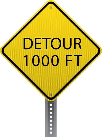 chauffeurs: Detour 1000 ft signe d'avertissement de trafic. Panneaux de signalisation en forme de losange avertissent les conducteurs des conditions et des dangers de la route � venir.