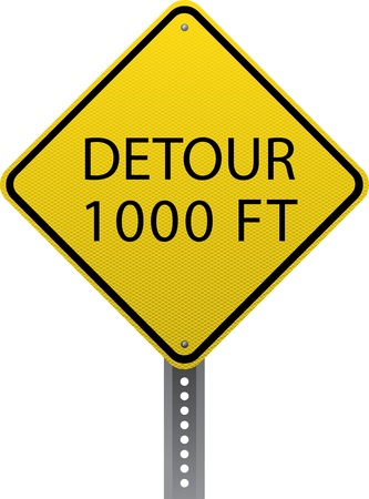 road conditions: Detour 1000 ft traffic warning sign. Diamond-shaped traffic signs warn drivers of upcoming road conditions and hazards. Illustration