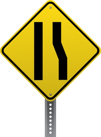 road conditions: Lane ends traffic warning sign. Diamond-shaped traffic signs warn drivers of upcoming road conditions and hazards.