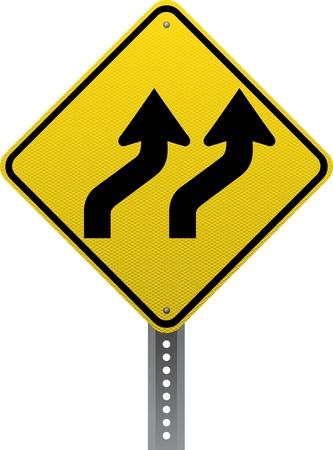 shifting: Lanes shifting traffic warning sign. Diamond-shaped traffic signs warn drivers of upcoming road conditions and hazards.