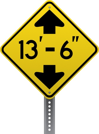 road conditions: Low clearance traffic warning sign. Diamond-shaped traffic signs warn drivers of upcoming road conditions and hazards. Illustration