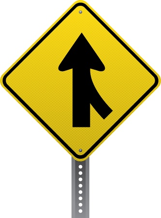 merging: Merging traffic warning sign. Diamond-shaped traffic signs warn drivers of upcoming road conditions and hazards.