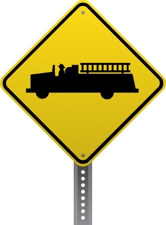 chauffeurs: Station signe d'avertissement de trafic d'incendie. Panneaux de signalisation en forme de losange avertissent les conducteurs des conditions et des dangers de la route � venir. Illustration