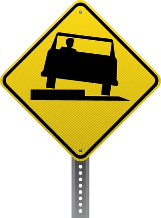 Low shoulder traffic warning sign. Diamond-shaped traffic signs warn drivers of upcoming road conditions and hazards. Stock Vector - 20953905