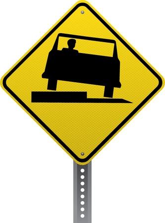 chauffeurs: Faible signe d'avertissement de trafic de l'�paule. Panneaux de signalisation en forme de losange avertissent les conducteurs des conditions et des dangers de la route � venir. Illustration
