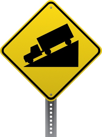 road conditions: Steep downgrade traffic warning sign. Diamond-shaped traffic signs warn drivers of upcoming road conditions and hazards.