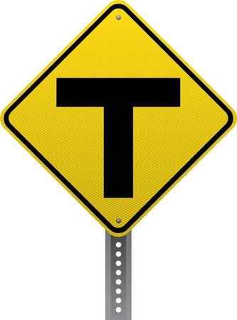 chauffeurs: T-intersection signe d'avertissement de trafic. Panneaux de signalisation en forme de diamant avertir les conducteurs des conditions et des dangers de la route � venir.