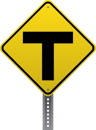 road conditions: T-intersection traffic warning sign. Diamond-shaped traffic signs warn drivers of upcoming road conditions and hazards.