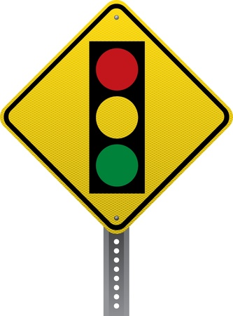road conditions: Traffic signal traffic warning sign. Diamond-shaped traffic signs warn drivers of upcoming road conditions and hazards. Illustration