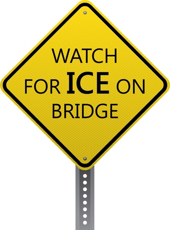 road conditions: Watch for ice on bridge traffic warning sign. Diamond-shaped traffic signs warn drivers of upcoming road conditions and hazards.