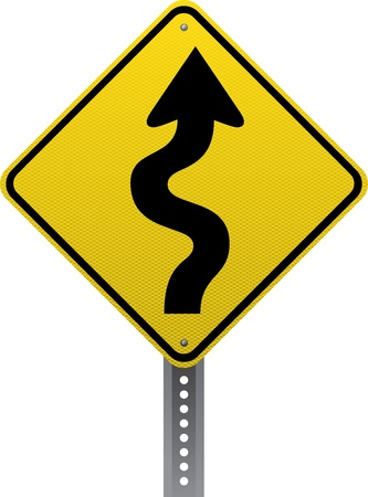 road conditions: Winding road warning sign. Diamond-shaped traffic signs warn drivers of upcoming road conditions and hazards.