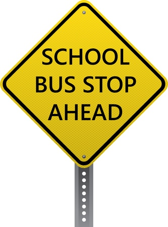 road conditions: School bus stop ahead warning sign. Diamond-shaped traffic signs warn drivers of upcoming road conditions and hazards.
