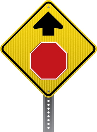 road conditions: Stop ahead warning sign. Diamond-shaped traffic signs warn drivers of upcoming road conditions and hazards.