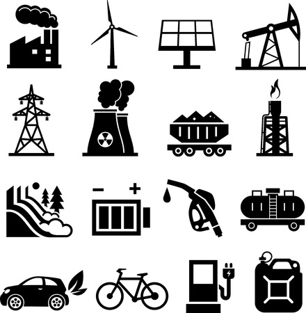 Energy icons black on white Vector