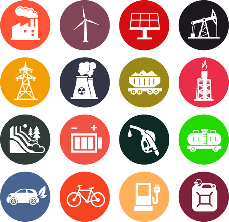 gas station: Energy icons in colored circles