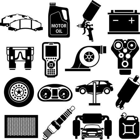 brake pad: Car service icons black on white Illustration