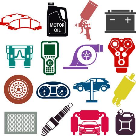 car brake: Car service icons in color circles