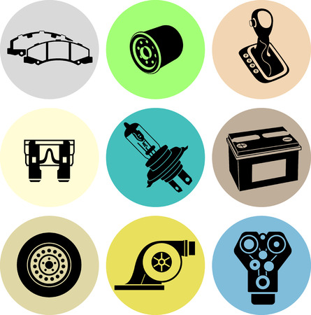 brake pad: Car maintenance icons in color. Black icons in color circles.
