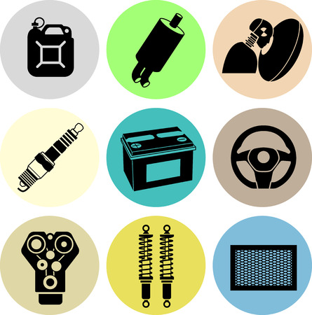 onderhoud auto: Auto-onderhoud pictogrammen in kleur. Zwarte pictogrammen in kleur cirkels.