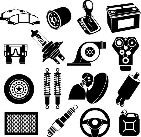 onderhoud auto: Auto-onderhoud pictogrammen zwart op wit