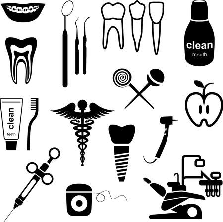 sillon dental: Dental icons negro sobre fondo blanco.
