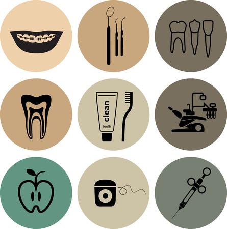 sillon dental: Iconos dentales en los c�rculos de colores sobre fondo blanco