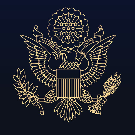 US passport seal gold on dark blue background