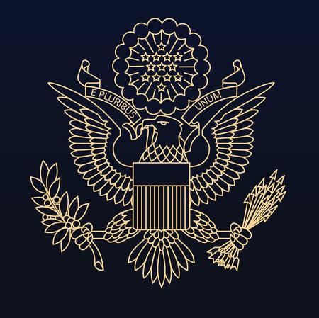 Sello de Oro pasaporte estadounidense sobre fondo azul oscuro Ilustración de vector