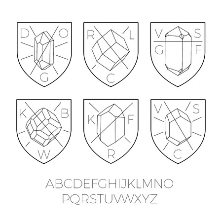 heraldry: Heraldry icons with precious stones, hipster style.