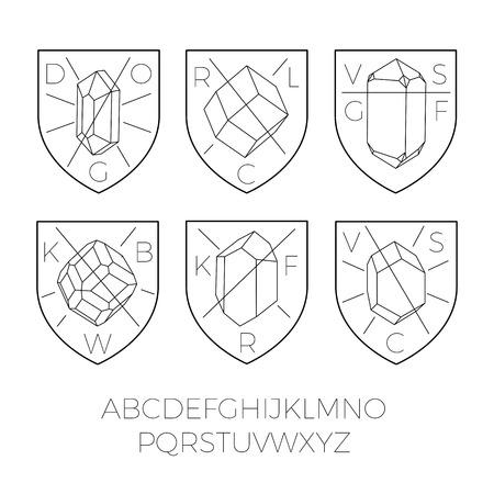precious stones: Heraldry icons with precious stones, hipster style.