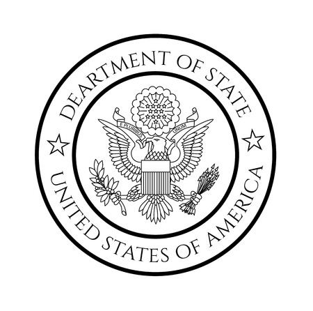 US department of state seal, black on white.