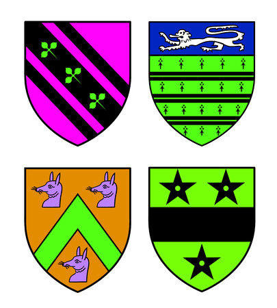 cartoon knight: Authentic medieval heraldry shields from Britain.