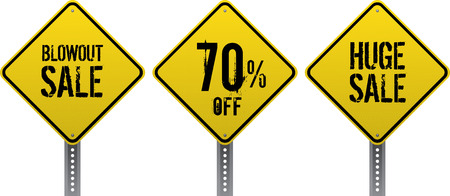 Sale and discount yellow diamond traffic signs.  Illustration
