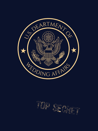 Wedding invitation passport with fake wedding affairs seal and top secret stamp.