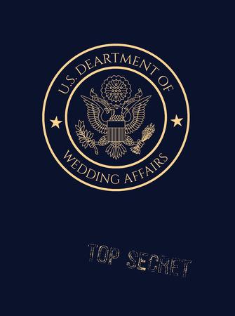 passaporto: Wedding invito passaporto con falsi affari di nozze sigillo e timbro top secret. Vettoriali