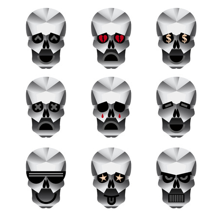 Happy skull emoticons. Nine icons portraying different emotions of usually happy skull.