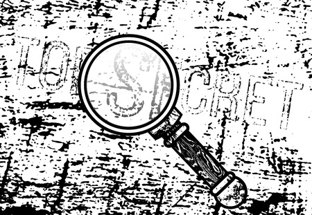 mistery: Top Secret inscription with a magnifying glass and ink marked paper in background. Illustration