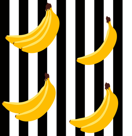 stripes pattern: Banana bright geometric seamless pattern. Bright yellow bananas with black and white stripes background.