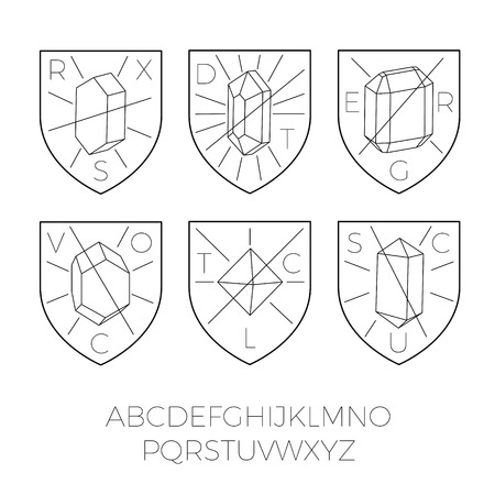 Heraldry icons with precious stones, hipster style. Typography included for custom design. Good for logos, badges, rubber stamps, etc.