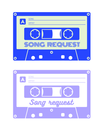 request: Song request card for print. Usually used at parties, weddings, celebrations and other appropriate events. CMYK color mode.