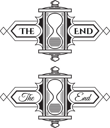 chapter: The end, graphic element. Old vintage sign, chapter end mark. Two font styles for same graphic. Illustration