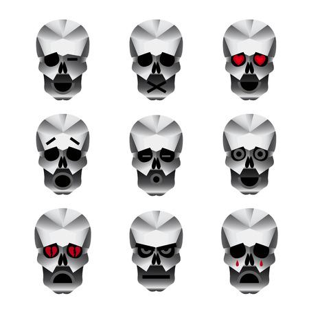 corazon roto: Emoticonos cr�neo feliz. Nueve iconos que retratan diferentes emociones de por lo general feliz cr�neo.