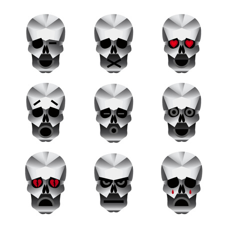 heart white: Happy skull emoticons. Nine icons portraying different emotions of usually happy skull.